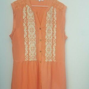 Miss Me Peach Orange Embroidered Cinch Waist Dress